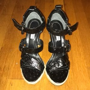 Balenciaga rope track leather wedge sandals black